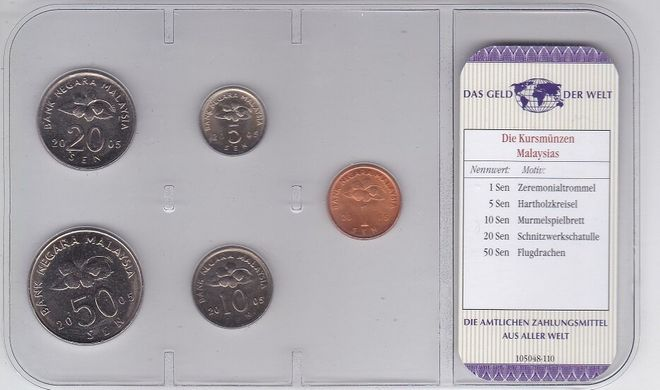 Malaysia - set 5 coins 1 5 10 20 50 Sen 2005 - in blister - UNC