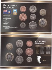 Falkland Islands - set 8 coins 1 2 5 10 20 50 Pence 1 2 Pounds 1998 - 2004 - in a cardboard box - UNC
